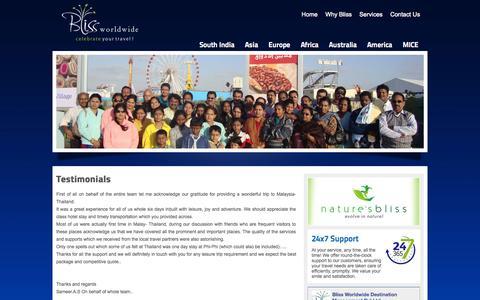 Screenshot of Testimonials Page blissworldwide.net - Blissworldwide - celebrate your travel - captured Oct. 5, 2014