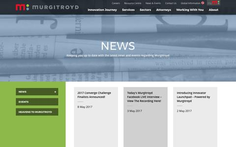 Screenshot of Press Page murgitroyd.com - News Archive | Murgitroyd, European Patent & Trade Mark Attorneys - captured May 11, 2017
