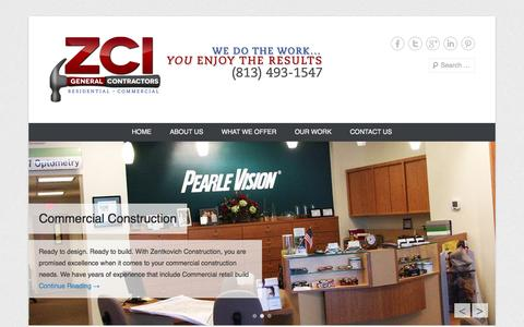 Screenshot of Home Page Menu Page zentkovichconstruction.com - Zentkovich Construction Inc - captured Oct. 6, 2014