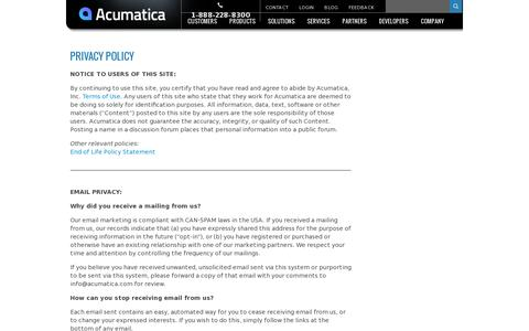 Screenshot of Privacy Page acumatica.com - Privacy Policy - captured July 20, 2014