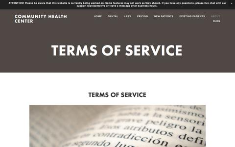Screenshot of Terms Page chcaustell.org - Terms of Service — Community Health Center - captured Nov. 9, 2016