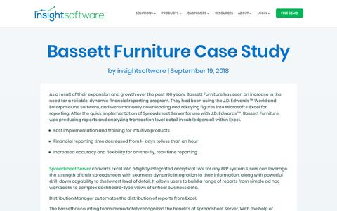 Screenshot of Case Studies Page insightsoftware.com - Bassett Furniture Case Study - insightsoftware - captured Feb. 7, 2019