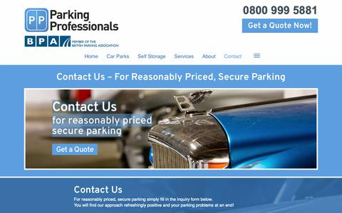 Screenshot of Contact Page parking-pros.co.uk - Contact Us: Expert Parking Services   Parking Professionals - captured Sept. 26, 2018