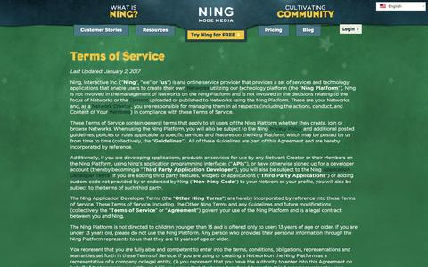 Screenshot of Terms Page ning.com - Terms of Service | Ning.com - captured Jan. 11, 2017