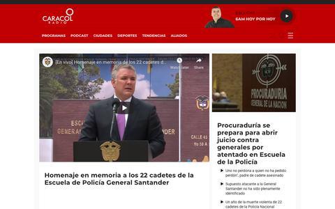 Screenshot of Home Page caracol.com.co - Caracol Radio | Noticias, deportes y opinión en Colombia - captured Jan. 17, 2020