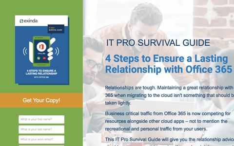 Screenshot of Landing Page exinda.com - IT Pro Survival Guide: 4 Steps to Ensure a Lasting Relationship with Office 365 - captured June 21, 2017
