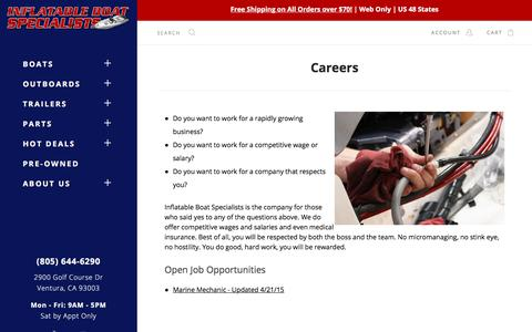 Screenshot of Jobs Page inflatableboats.net - Careers | Inflatable Boat Specialists - captured Oct. 15, 2017