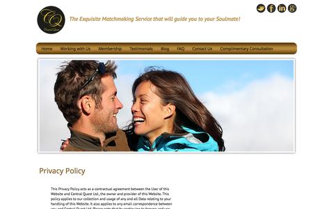 Screenshot of Privacy Page centralquest.com - Privacy Policy | Central Quest Matchmaking & Introduction Agency - captured Oct. 27, 2014