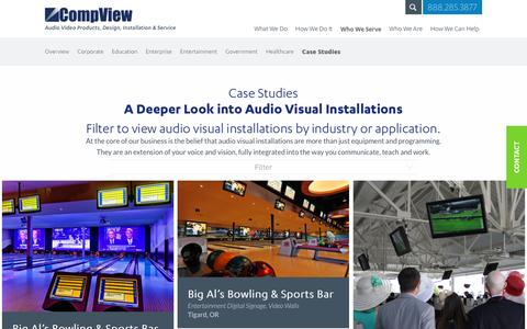 Screenshot of Case Studies Page compview.com - Audio Visual Installations – Case Studies | CompView - captured May 19, 2017