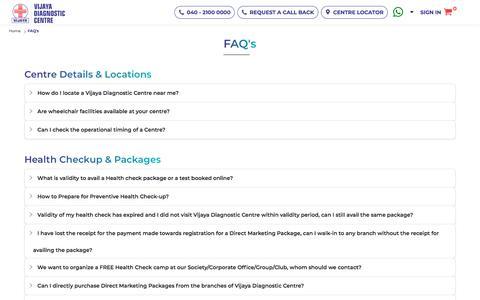 Screenshot of FAQ Page vijayadiagnostic.com - FAQ's || Vijaya Diagnostic Centre - captured Oct. 2, 2019
