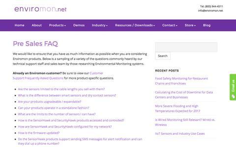 Pre Sales FAQ - Enviromon