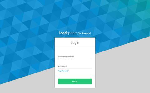 Screenshot of Login Page leadspace.com - Login - captured June 20, 2019