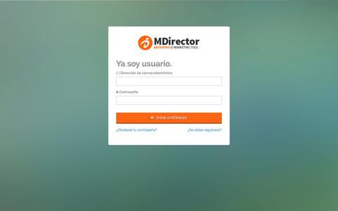 Screenshot of Login Page mdirector.com - Entrar a MDirector - captured July 1, 2019
