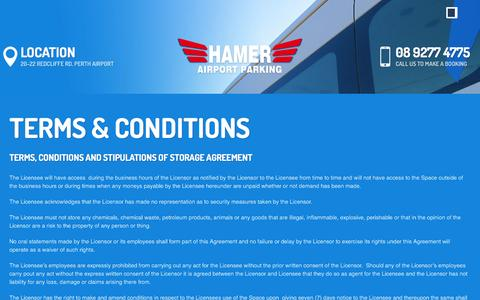 Screenshot of Terms Page airport.com.au - Terms & Conditions | Hamer Airport Parking - captured Oct. 19, 2016