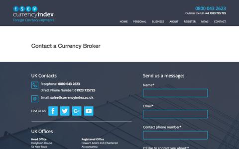 Screenshot of Contact Page currencyindex.co.uk - Contact a Currency Broker - Currency Index - Professional Currency Brokers - captured July 24, 2018