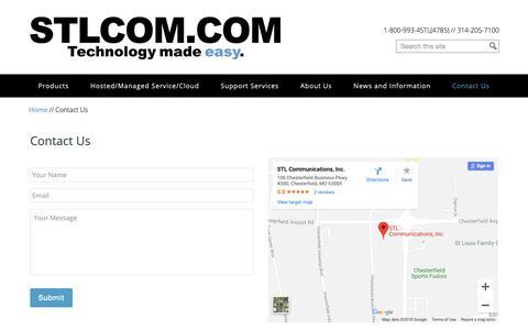 Screenshot of Contact Page stlcom.com - Contact Us - STL Communications Inc. - captured Sept. 30, 2018