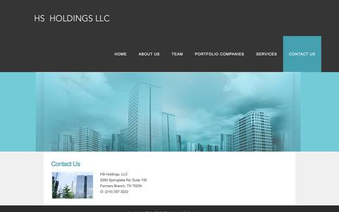 Screenshot of Contact Page hsholdingsllc.com - CONTACT US - HS Holdings - captured July 13, 2018