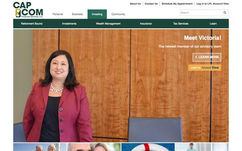 Screenshot of Home Page capcomfinancial.com - Investment and financial advisory firm specializing in retirement planning, estate planning, insurance, and tax preparation. - captured Oct. 9, 2015