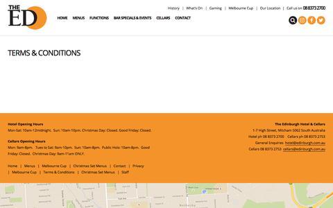 Screenshot of Terms Page edinburgh.com.au - Terms & Conditions - The Ed, Adelaide - captured Oct. 28, 2017