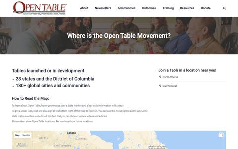 Screenshot of About Page Locations Page theopentable.org - Where is the Open Table Movement? - The Open Table - captured Nov. 2, 2017