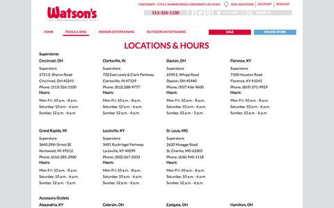 Screenshot of Locations Page watsons.com - Cincinnati Locations - captured Nov. 2, 2014