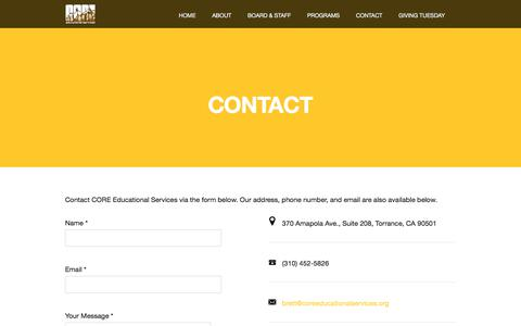 Screenshot of Contact Page coreeducationalservices.org - Contact CORE Educational Services and Partner With Us - CORE - captured July 14, 2018