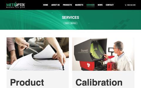 Screenshot of Services Page metoptix.com.au - Services - MET OPTIX - captured Nov. 6, 2018