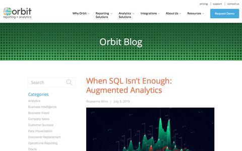 Screenshot of Blog orbitanalytics.com - Blog | Orbit Reporting + Analytics - captured July 12, 2019