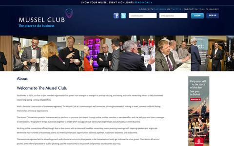 Screenshot of About Page themusselclub.com - The Mussel Club | About - captured Aug. 16, 2015