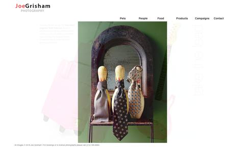 Screenshot of Products Page joegrisham.com - Joe Grisham Portfolio - Product Advertising, Lifestyle, Corporate, Portrait and Magazine Editorial Dallas Photographer - captured July 17, 2018
