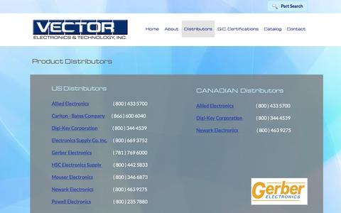 Screenshot of Services Page vectorelect.com - Distributors | Vector Electronics - captured Dec. 8, 2016