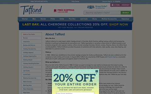 Screenshot of About Page tafford.com - About Us | Tafford Uniforms - captured Sept. 19, 2014