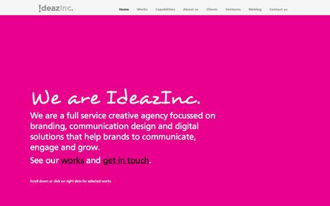 Screenshot of Home Page ideazinc.com - Creative Agency Delhi: Web Design| Graphic Design| Brand Design - captured Sept. 30, 2014