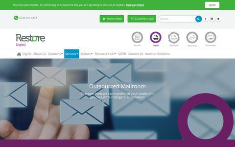 Screenshot of Services Page restore.co.uk - Digital Mailroom Services | Outsourced Mailroom | Restore Digital - captured July 27, 2018