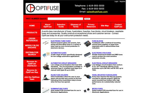 Screenshot of Home Page optifuse.com - Fuses, Circuit Breakers, Fuse Clips, Fuse Holders, Resettable Fuse, Fuseblocks from OptiFuse - captured March 30, 2019
