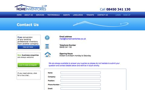 Screenshot of Contact Page homeinventories.co.uk - Home Inventories - captured July 15, 2016