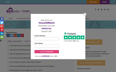 Screenshot of FAQ Page housesitmatch.com - FAQ s prepared for HouseSit Match members to help navigate the website and services - captured Sept. 30, 2018