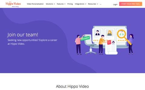 Screenshot of Jobs Page hippovideo.io - Hippo Video | Careers - captured July 15, 2019