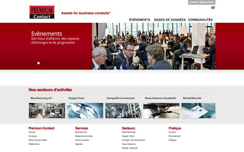 Screenshot of Home Page premiumcontact.fr - Premium Contact : Assets for business contacts - captured Sept. 30, 2014