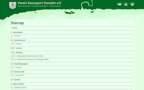 Screenshot of Site Map Page sslsites.de - Sitemap / Verein Kanusport Dresden e.V. - captured March 31, 2017