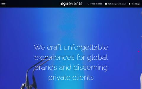 Screenshot of Home Page mgnevents.co.uk - Event Management Company & Party Planners UK - MGN events - captured July 26, 2018