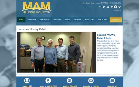 Screenshot of Home Page maministries.org - Memorial Assistance Ministries (MAM) - captured Oct. 5, 2017