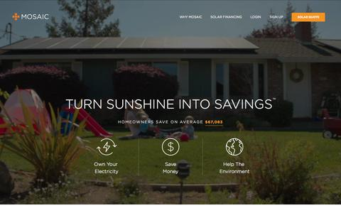 Screenshot of Home Page joinmosaic.com - Home Solar Panel Loans | Affordable Financing | Mosaic - captured July 3, 2015