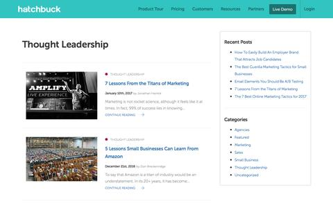 Screenshot of Blog hatchbuck.com - Thought Leadership Archives - Hatchbuck - captured Jan. 13, 2017