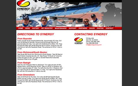 Screenshot of Contact Page Maps & Directions Page synergyracing.com - Synergy Raging Contact Form - captured Oct. 26, 2014
