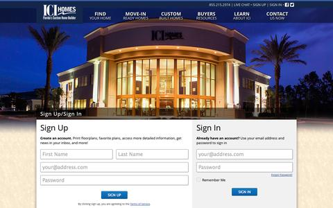 Screenshot of Signup Page Login Page icihomes.com - Sign Up/Sign In   ICI Homes - Florida's Custom Home Builder - captured Oct. 23, 2014