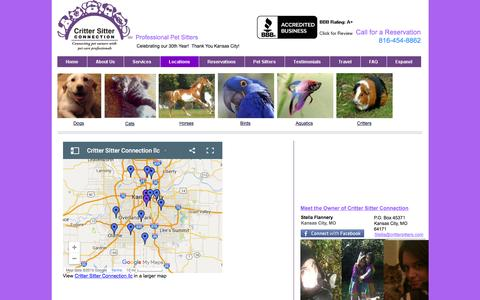 Screenshot of Locations Page crittersitterconnection.com - locations - captured Jan. 31, 2016