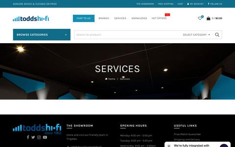 Screenshot of Services Page todds.com.au - Services – Todds Hi Fi - captured Oct. 19, 2018