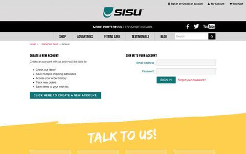 Screenshot of Login Page sisuguard.com - SISU Mouth Guard - Sign in - captured Nov. 2, 2014