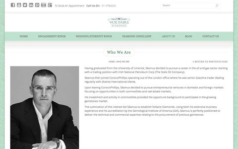 Screenshot of About Page voltairediamonds.ie - Who We Are | Voltaire Diamonds - captured Sept. 18, 2014